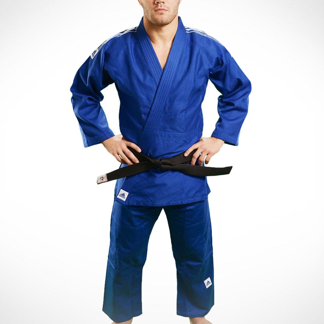 adidas J990 Millenium Judo uniform with stripes BlueWhite